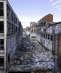 Nedlagd bilfabrik i Detroit