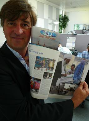 Christian Marks, utgivare av afghanska Safi Airways ombordtidning. Foto: Marcus Hansson.